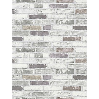 DW1036703-10 White Grey Brick Wallpaper