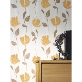 DW1076749-06 Brown Floral Wallpaper