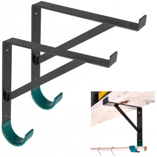 """Heavy-Duty Metal Shelf Brackets for 12 inch Lumber Board (11 1/4"""") with Heavy Duty Storage Hooks for Garage Wall Shelves - Hook Shelf Bracket (2)"""