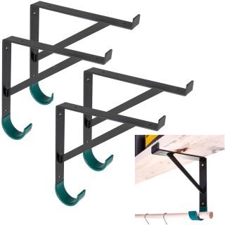 """Heavy-Duty Metal Shelf Brackets for 12 inch Lumber Board (11 1/4"""") with Heavy Duty Storage Hooks for Garage Wall Shelves - Hook Shelf Bracket (4)"""
