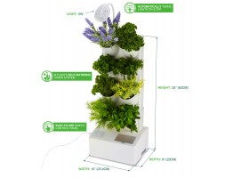Self Watering Planter - Vertical Garden Planter with LED Light, Water Pump, 8 Plants Herbs & Flowers