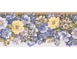 8 1/2 in x 15 ft Prepasted Wallpaper Borders - Floral Wall Paper Border 31012357B