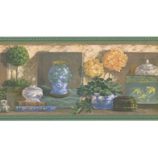 10 1/2 in x 15 ft Prepasted Wallpaper Borders - Garden Wall Paper Border 40926240