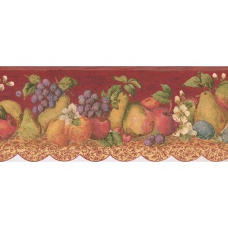 8 in x 15 ft Prepasted Wallpaper Borders - Fruits Wall Paper Border 5503860