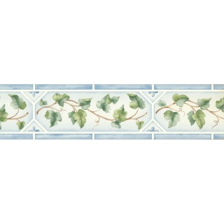 5 1/4 in x 15 ft Prepasted Wallpaper Borders - Leaves Wall Paper Border 5504161