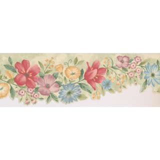 6.2 in x 15 ft Prepasted Wallpaper Borders - Floral Wall Paper Border 5504311