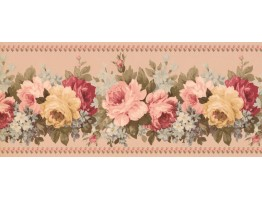 8 1/2 in x 15 ft Prepasted Wallpaper Borders - Floral Wall Paper Border 5506561