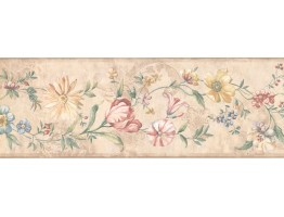 6.87 in x 15 ft Prepasted Wallpaper Borders - Floral Wall Paper Border 5506631