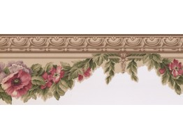 7.2 in x 15 ft Prepasted Wallpaper Borders - Floral Wall Paper Border 5507120