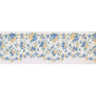 6.4 in x 15 ft Prepasted Wallpaper Borders - Floral Wall Paper Border 5508500