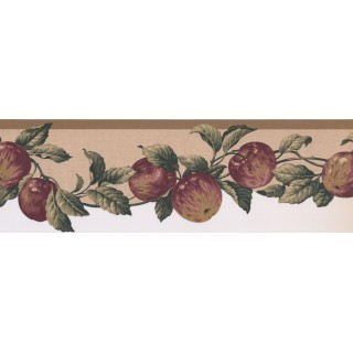 6.6 in x 15 ft Prepasted Wallpaper Borders - Apple Fruits Wall Paper Border 577103