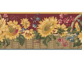 Prepasted Wallpaper Borders - Sunflower Wall Paper Border 5802495