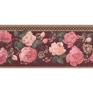9 in x 15 ft Prepasted Wallpaper Borders - Floral Wall Paper Border 5811365