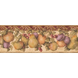 6.87 in x 15 ft Prepasted Wallpaper Borders - Fruits Wall Paper Border 5813920