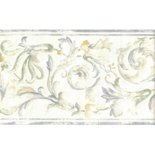 6.875 in x 15 ft Prepasted Wallpaper Borders - Floral Wall Paper Border 82B66121