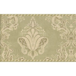 6 3/4 in x 15 ft Prepasted Wallpaper Borders - Damask Wall Paper Border 95896