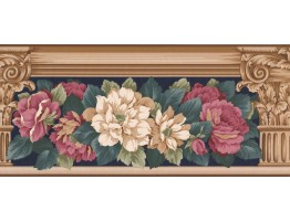 Prepasted Wallpaper Borders - Floral Wall Paper Border AB521B