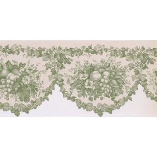 9 1/2 in x 15 ft Prepasted Wallpaper Borders - Fruits and Flower Wall Paper Border AV057102B