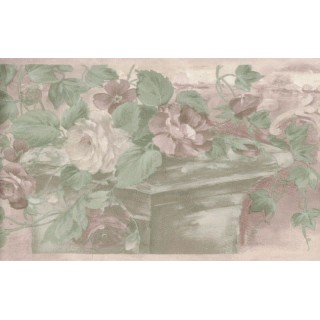 6.875 in x 15 ft Prepasted Wallpaper Borders - Floral Wall Paper Border B61775