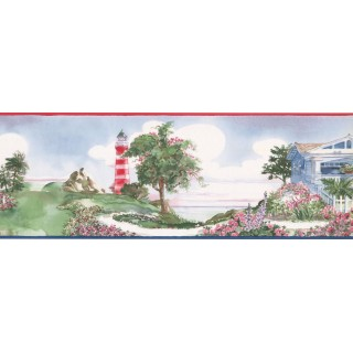 7 in x 15 ft Prepasted Wallpaper Borders - Light House Wall Paper Border BB75981LL