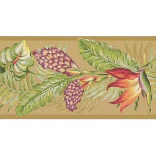 10 1/4 in x 15 ft Prepasted Wallpaper Borders - Leaves Wall Paper Border BN1920B