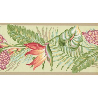 10 1/2 in x 15 ft Prepasted Wallpaper Borders - Leaves Wall Paper Border BN1922B