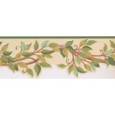 Prepasted Wallpaper Borders - Leaves Wall Paper Border BN1969B