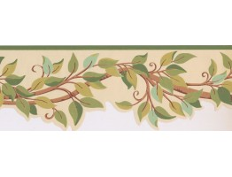7 in x 15 ft Prepasted Wallpaper Borders - Leaves Wall Paper Border BN1969B