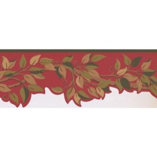 7 1/2 in x 15 ft Prepasted Wallpaper Borders - Leaves Wall Paper Border BN1970B
