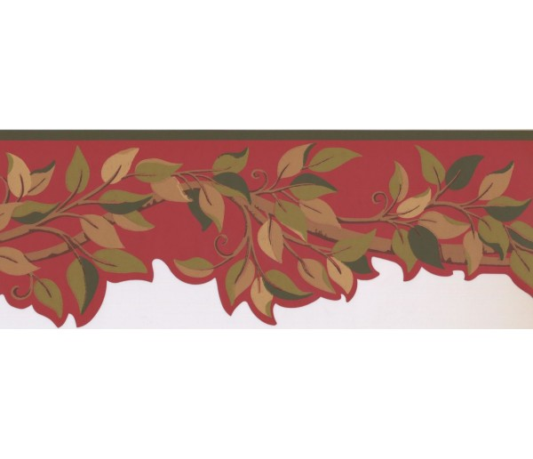 Prepasted Wallpaper Borders - Leaves Wall Paper Border BN1970B