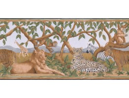 9 1/4 in x 15 ft Prepasted Wallpaper Borders - Jungle Animals Wall Paper Border BR14010B