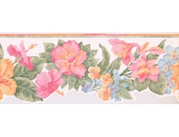 Prepasted Wallpaper Borders - Floral Wall Paper Border BR14013DB