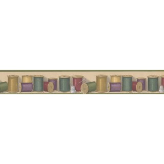 3 in x 15 ft Prepasted Wallpaper Borders - Threads Wall Paper Border BT77702
