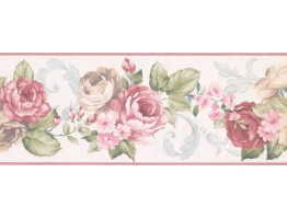 7 1/2 in x 15 ft Prepasted Wallpaper Borders - Floral Wall Paper Border CH77628