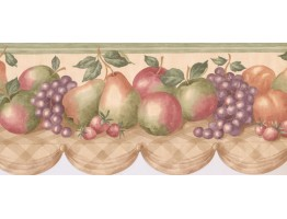 9 1/2 in x 15 ft Prepasted Wallpaper Borders - Fruits Wall Paper Border CP033104B
