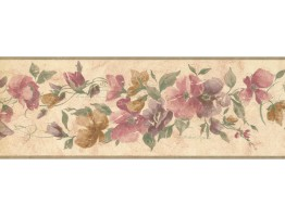7 in x 15 ft Prepasted Wallpaper Borders - Floral Wall Paper Border CR72841N