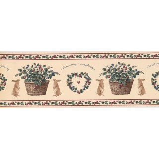 7 in x 15 ft Prepasted Wallpaper Borders - Rabbit and Fruits Wall Paper Border CS8421B