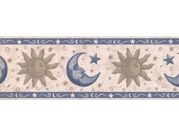 Prepasted Wallpaper Borders - Sun, Moon and Star Wall Paper Border CS8732B