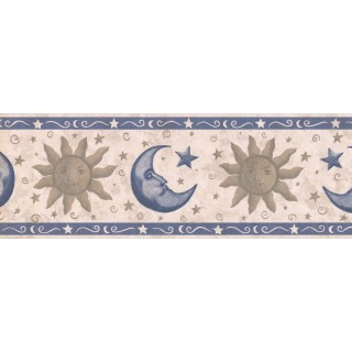 7 in x 15 ft Prepasted Wallpaper Borders - Sun, Moon and Star Wall Paper Border CS8732B