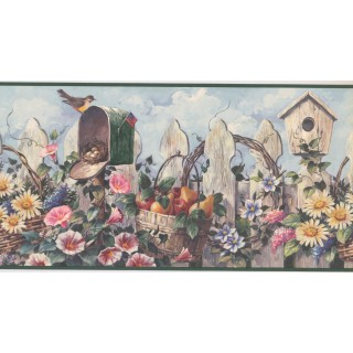 10 1/4 in x 15 ft Prepasted Wallpaper Borders - Garden Wall Paper Border CUP3322