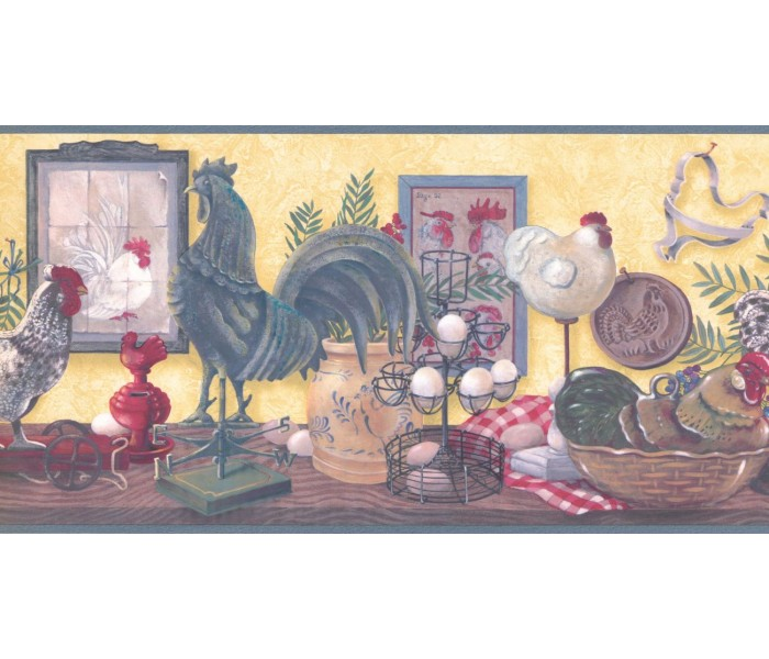 New  Arrivals Wall Borders: Roosters Wallpaper Border CUP3342