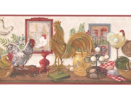 Prepasted Wallpaper Borders - Roosters Wall Paper Border CUP3343