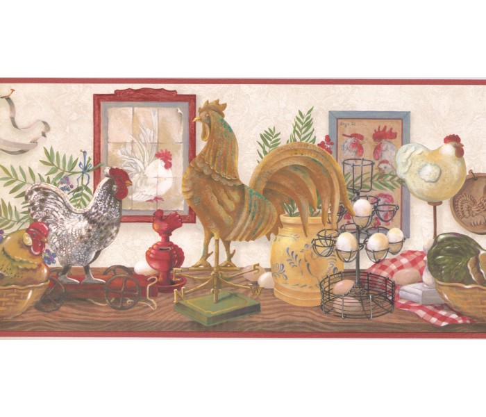 New  Arrivals Wall Borders: Roosters Wallpaper Border CUP3343