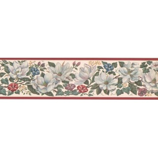 5 1/4 in x 15 ft Prepasted Wallpaper Borders - Floral Wall Paper Border CUP3392