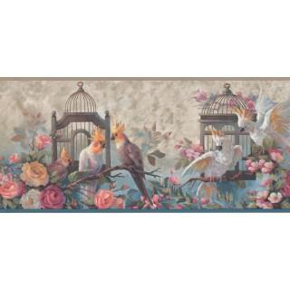 9 1/8 in x 15 ft Prepasted Wallpaper Borders - Birds Wall Paper Border DB3726B