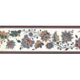 Prepasted Wallpaper Borders - Floral Wall Paper Border DK2133B