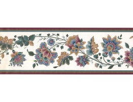 Prepasted Wallpaper Borders - Floral Wall Paper Border DK2133B