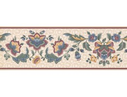 Prepasted Wallpaper Borders - Floral Wall Paper Border DS9440B