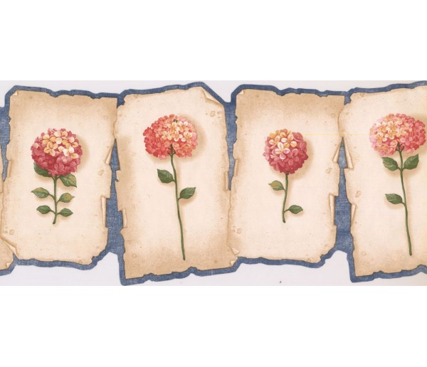 Prepasted Wallpaper Borders - Floral Wall Paper Border E022165B