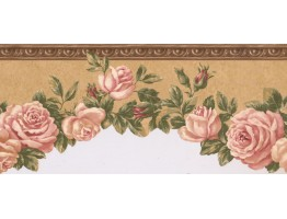 Prepasted Wallpaper Borders - Floral Wall Paper Border EG022102B